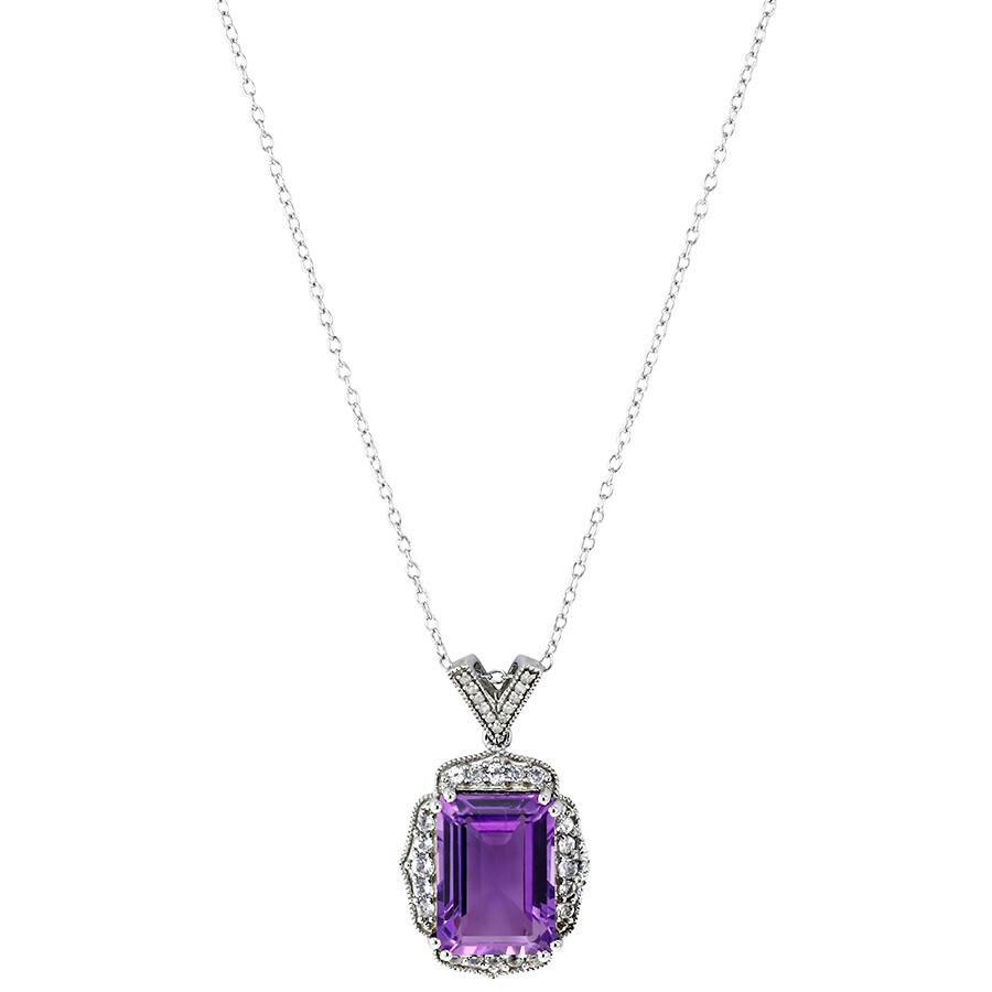 f0e88da53c4201 0.04 CT Diamond TW And 7.59 CT TGW Amethyst White Topaz Fashion Pendant  With Chain Silver ...