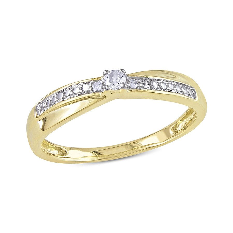 Size-6 G-H,I2-I3 1//8 cttw, Diamond Wedding Band in 10K Yellow Gold