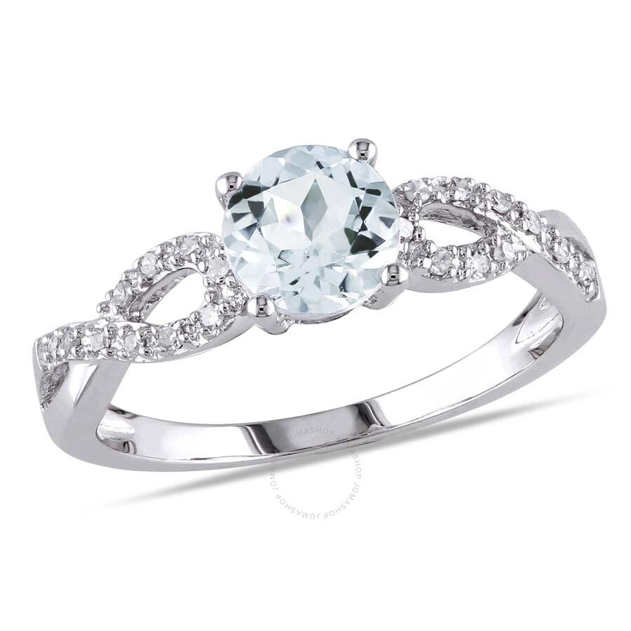 1 10 ct diamond tw and 3 4 ct tgw aquamarine fashion ring. Black Bedroom Furniture Sets. Home Design Ideas