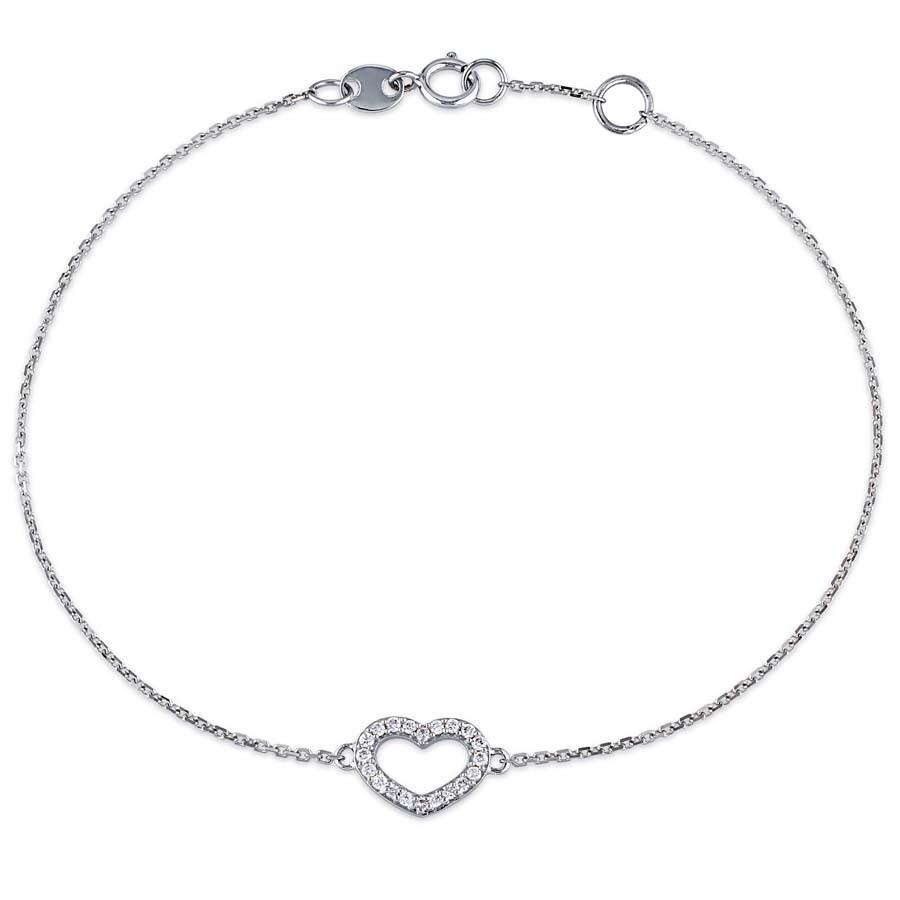 b58829435 1/10 CT TW Diamond Heart Charm Bracelet in 14k White Gold JMS004819 ...