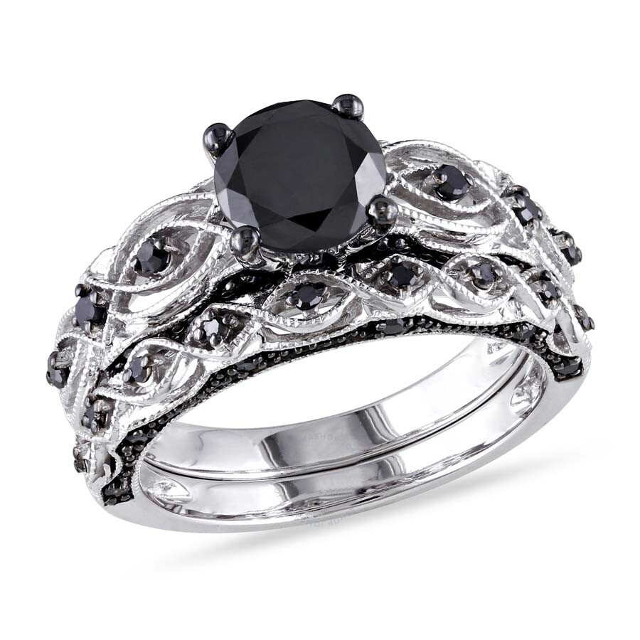 0785c85507e 1 3/8 CT TW Black Diamond Bridal Set in 10k White Gold with Black Rhodium  JMS004715-0600