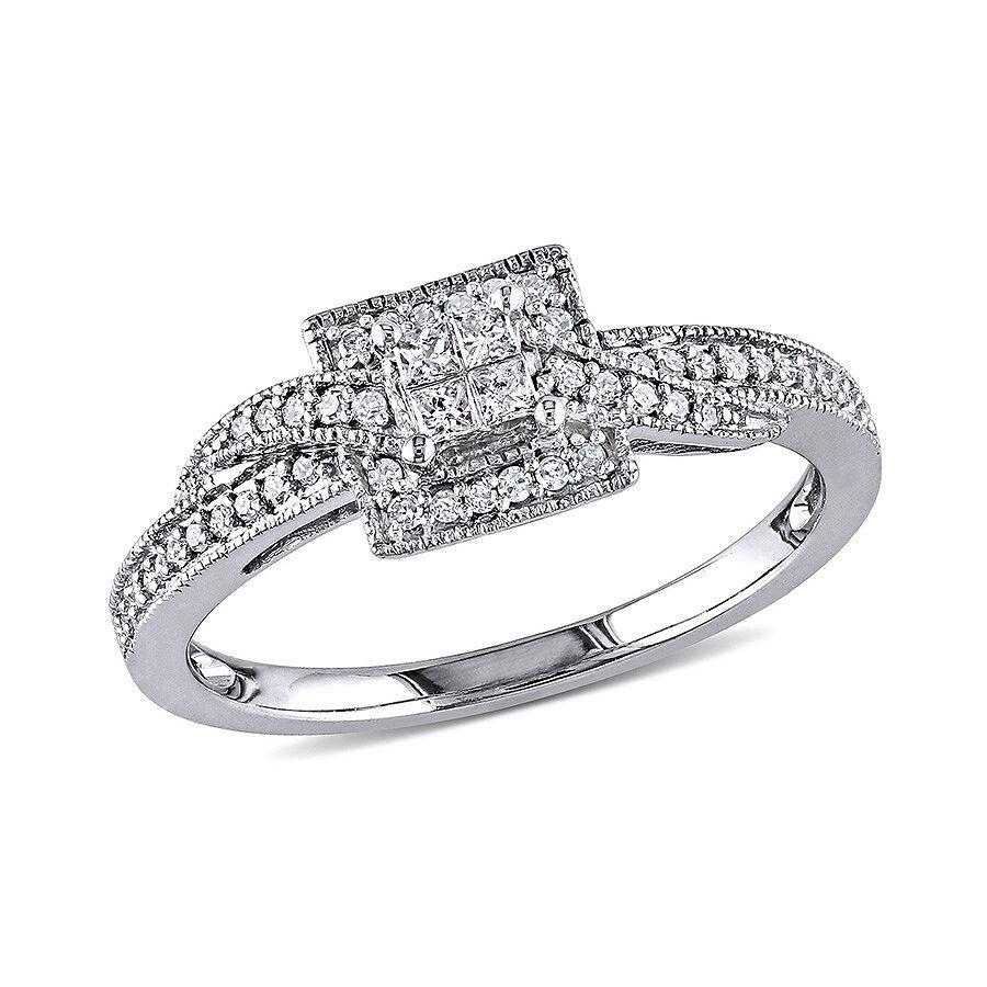 White Gold 1//4ct Diamond Wedding Band Ring G-H, I1-I2