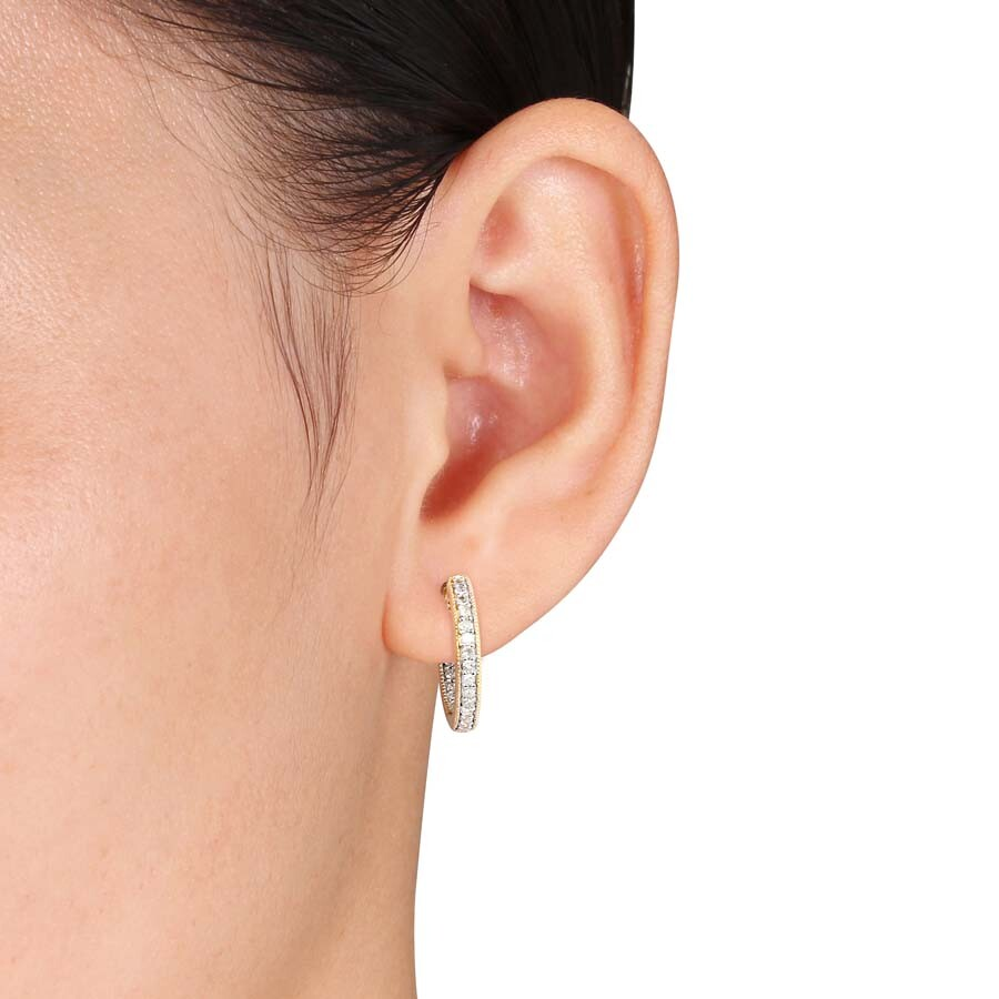 1 4 Ct Tw Diamond Inside Outside Hoop Earrings In 14k Yellow Gold Jms004800