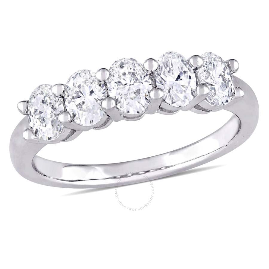 a1de61bf2aa5e5 1 CT TW Oval Cut Diamond Semi-Eternity Ring in 14k White Gold JMS004834- ...