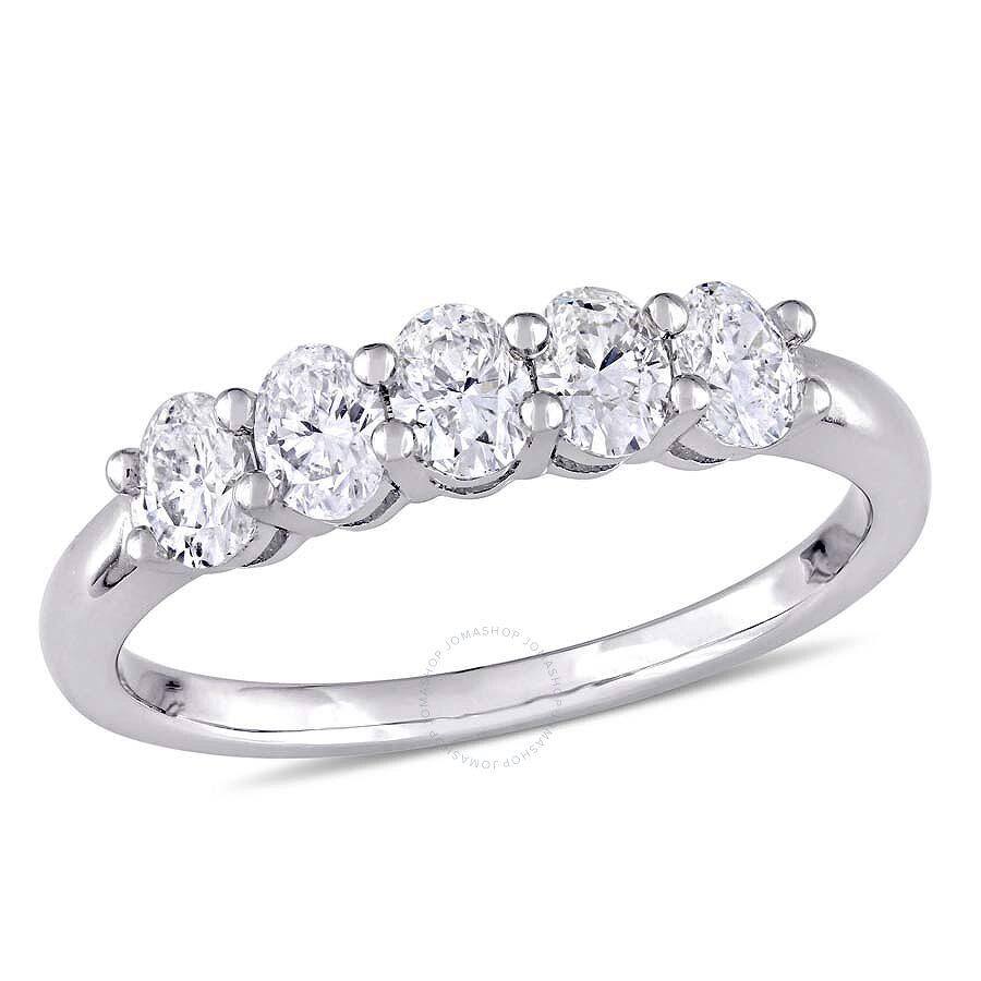 Black Diamond Ring 1 Ct Tw Oval Cut 14k White Gold: 1 CT TW Oval Cut Diamond Semi-Eternity Ring In 14k White