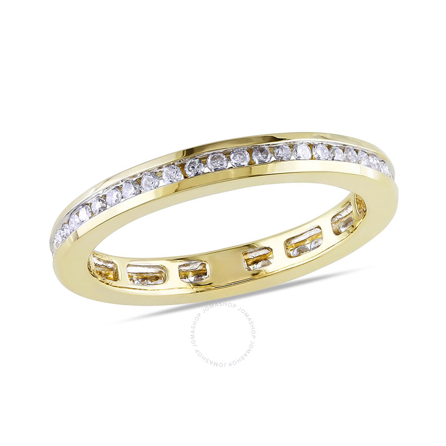 1 2 CT Diamond TW Eternity Ring 14k Yellow Gold GH I1 I2 Size 8 Size 9 Amo