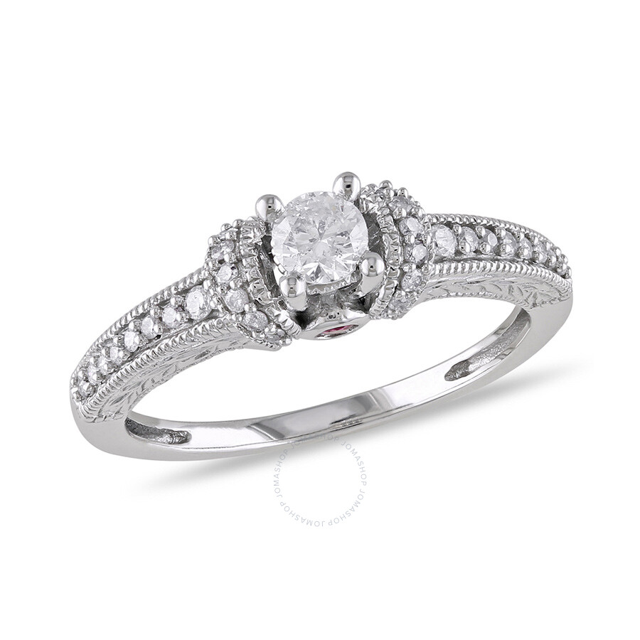 1/3 CT Diamond TW And 0.06 CT TGW Pink Sapphire Engagement ...