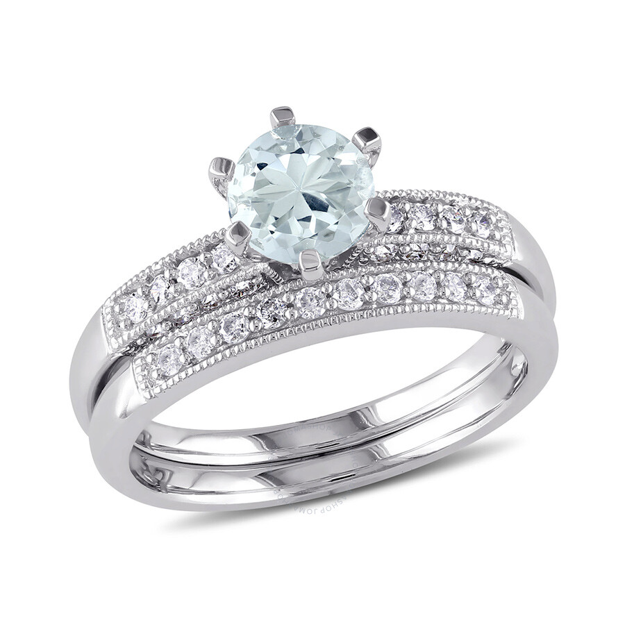 1 3 ct diamond tw and 3 4 ct tgw aquamarine bridal set. Black Bedroom Furniture Sets. Home Design Ideas