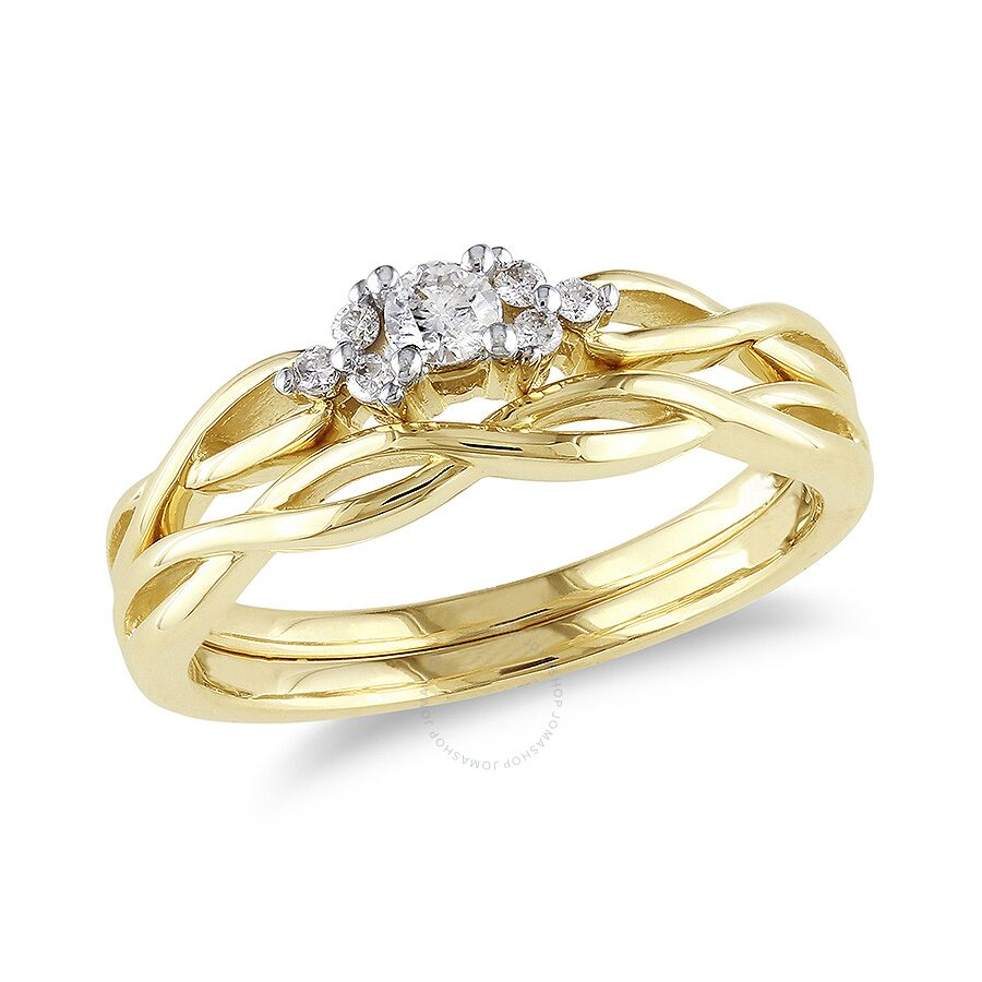 1 6 ct diamond tw bridal set ring 10k yellow gold 10k for Wedding ring catalogs by mail