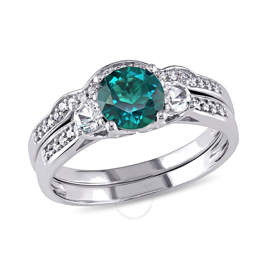 1 7 ct diamond tw and 1 1 8 ct tgw created emerald created. Black Bedroom Furniture Sets. Home Design Ideas