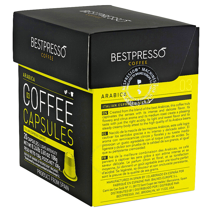 20 bestpresso nespresso compatible gourmet coffee capsules nespresso pods alternative arabica. Black Bedroom Furniture Sets. Home Design Ideas