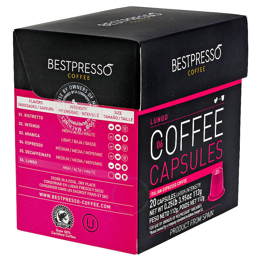 20 bestpresso nespresso compatible gourmet coffee capsules nespresso pods alternative lungo. Black Bedroom Furniture Sets. Home Design Ideas