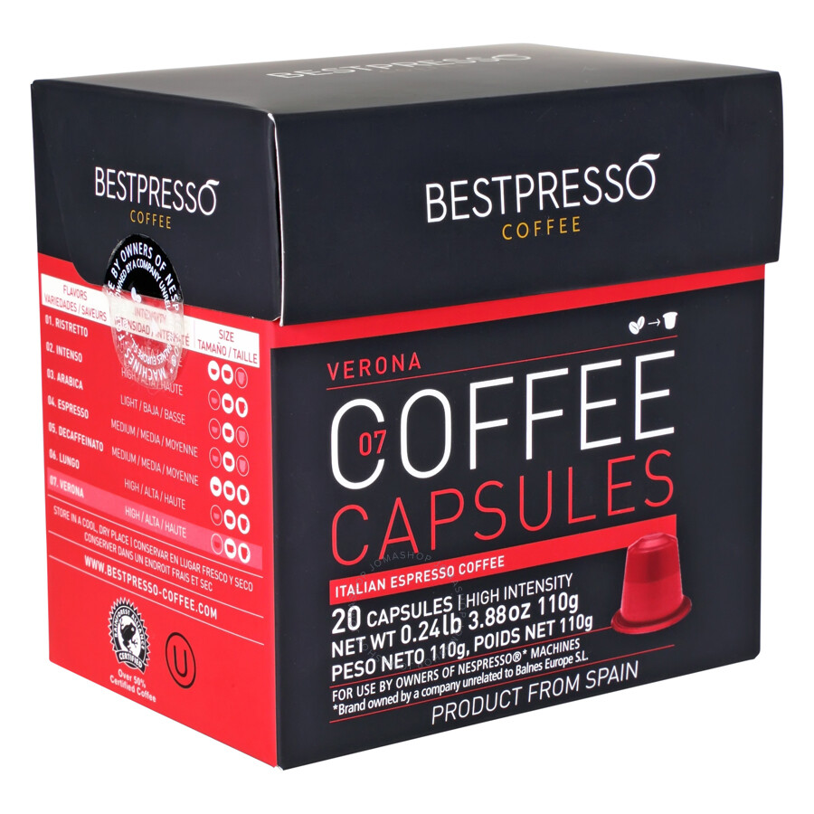 20 bestpresso nespresso compatible gourmet coffee capsules nespresso pods alternative verona. Black Bedroom Furniture Sets. Home Design Ideas