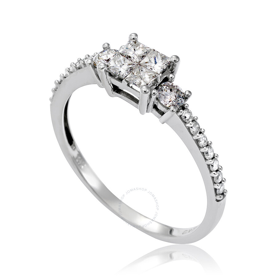 Amour 3 4 Ct Princess And Round Diamonds Tw Engagement Ring 14k