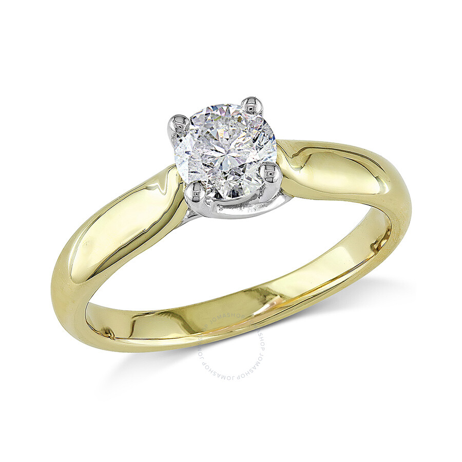 3 4 ct diamond tw solitaire ring 14k white yellow gold gh. Black Bedroom Furniture Sets. Home Design Ideas