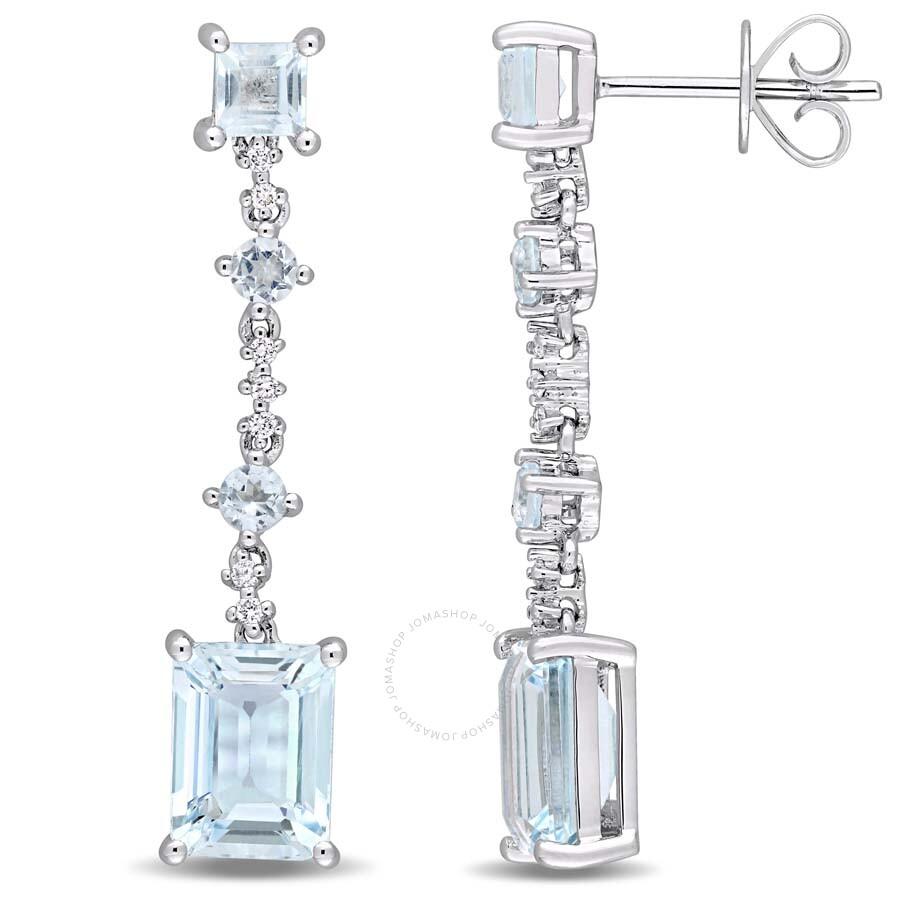 5 3/8 CT TGW Blue Topaz and Diamond Accent Geometric Drop Earrings in 14k  White Gold JMS004532