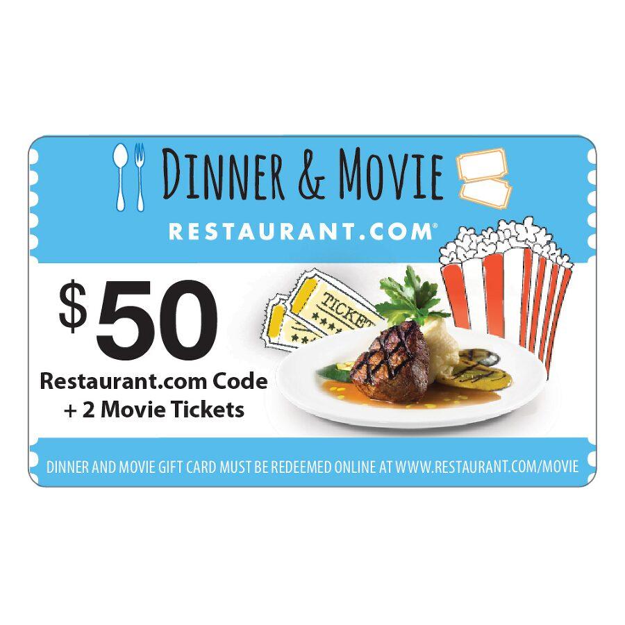$50 Restaurant.com Gift Card + 2 Free Fandango Movie Tickets ...