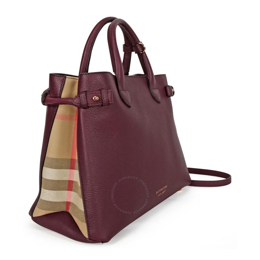 A Burberry The Medium Banner Leather House Check Handbag Mahogany Red
