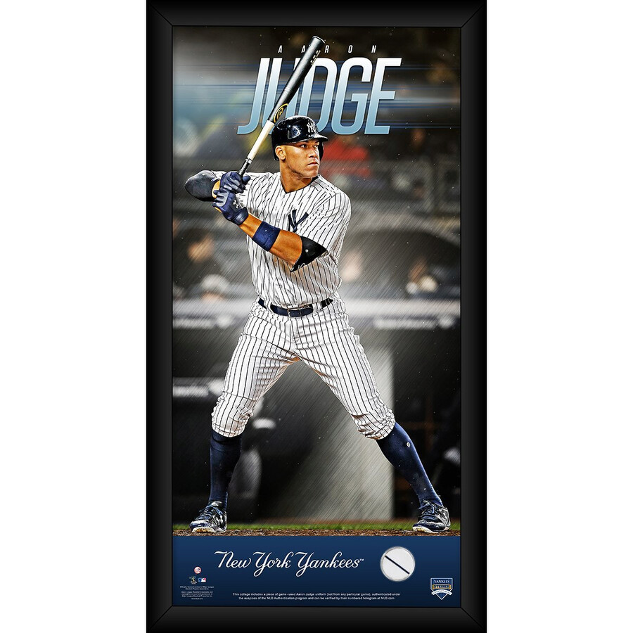 free shipping 84c6c bc259 Aaron Judge New York Yankees 10x20 Player Profile with Game Used Home and  Away Uniform Swatch