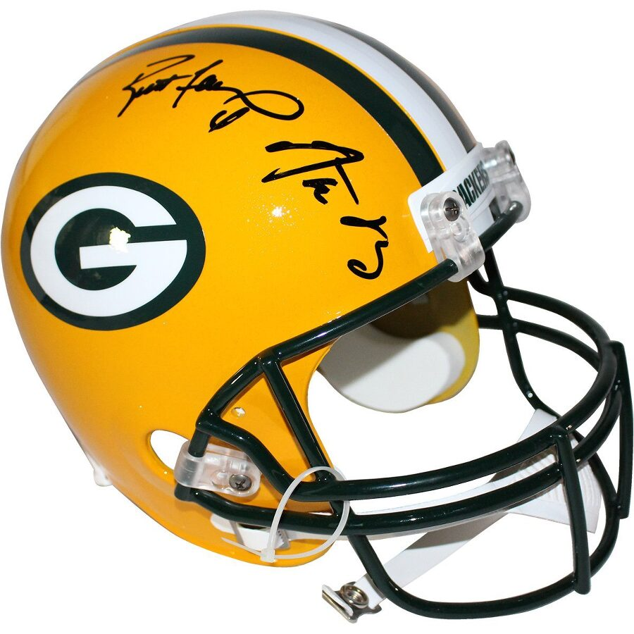 3a48c0181da Steiner Sports Aaron Rodgers Brett Favre Signed Packers Authentic Proline  Helmet Item No. SSPRODGHES000022