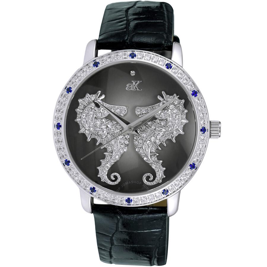 Quartz Crystal Black Dial Ladies Watch AK2002-LBU