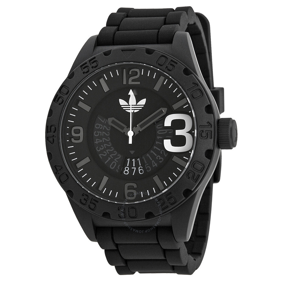adidas newburgh black dial black silicone strap men 39 s watch adh2963 adidas watches jomashop