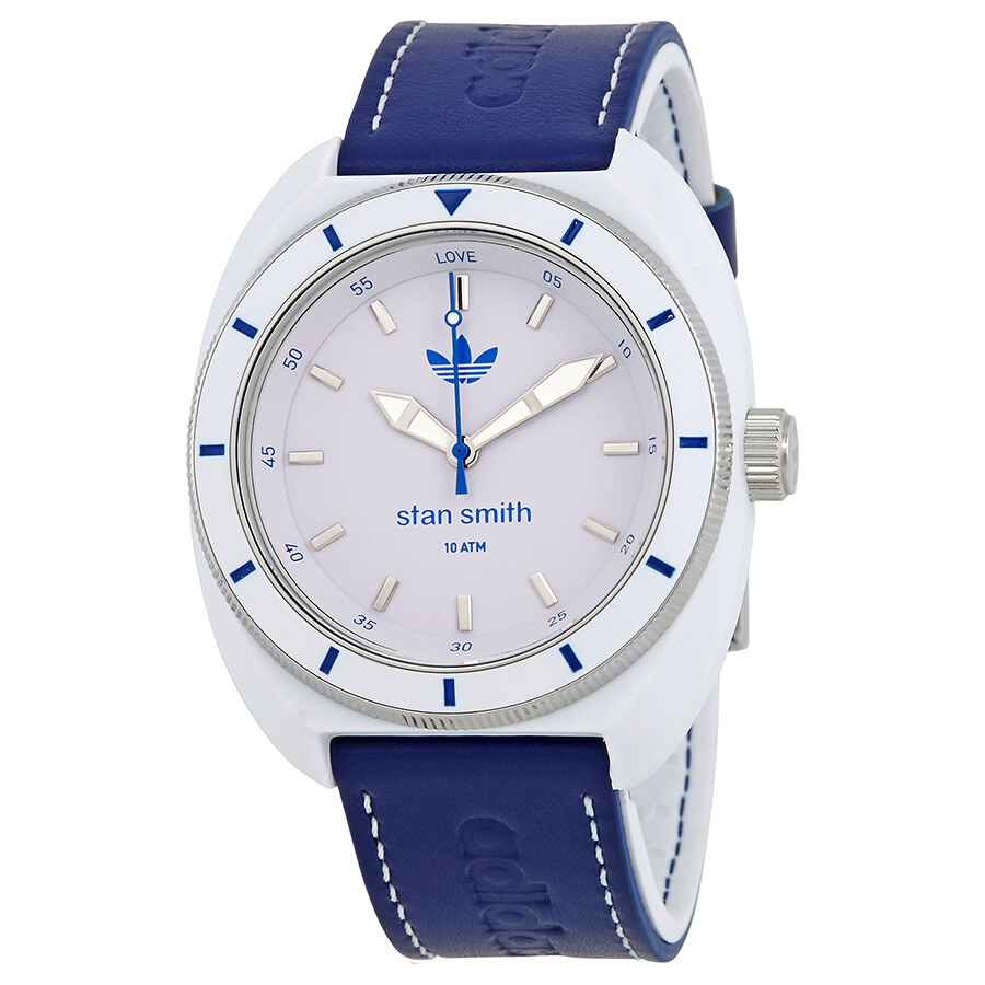 huge selection of 6b135 e58a8 Adidas Stan Smith White Dial Men s Blue Leather Watch ADH9087 ...