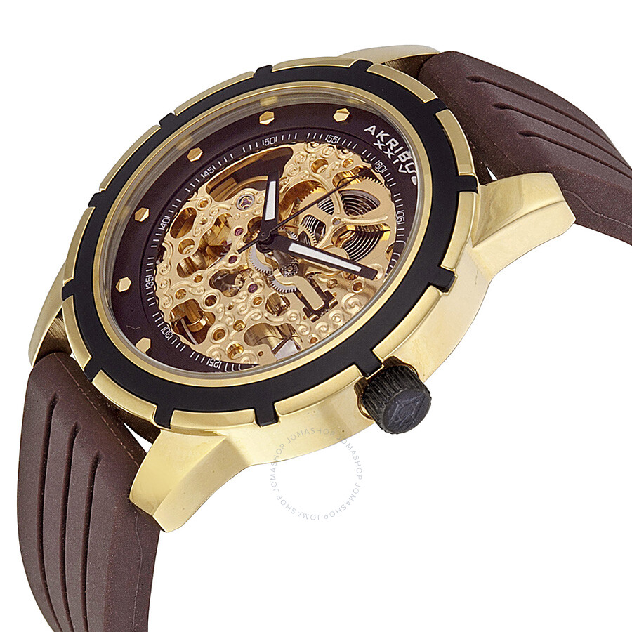 Akribos automatic gold tone skeleton dial brown rubber men 39 s watch ak444yg akribos xxiv for Akribos watches