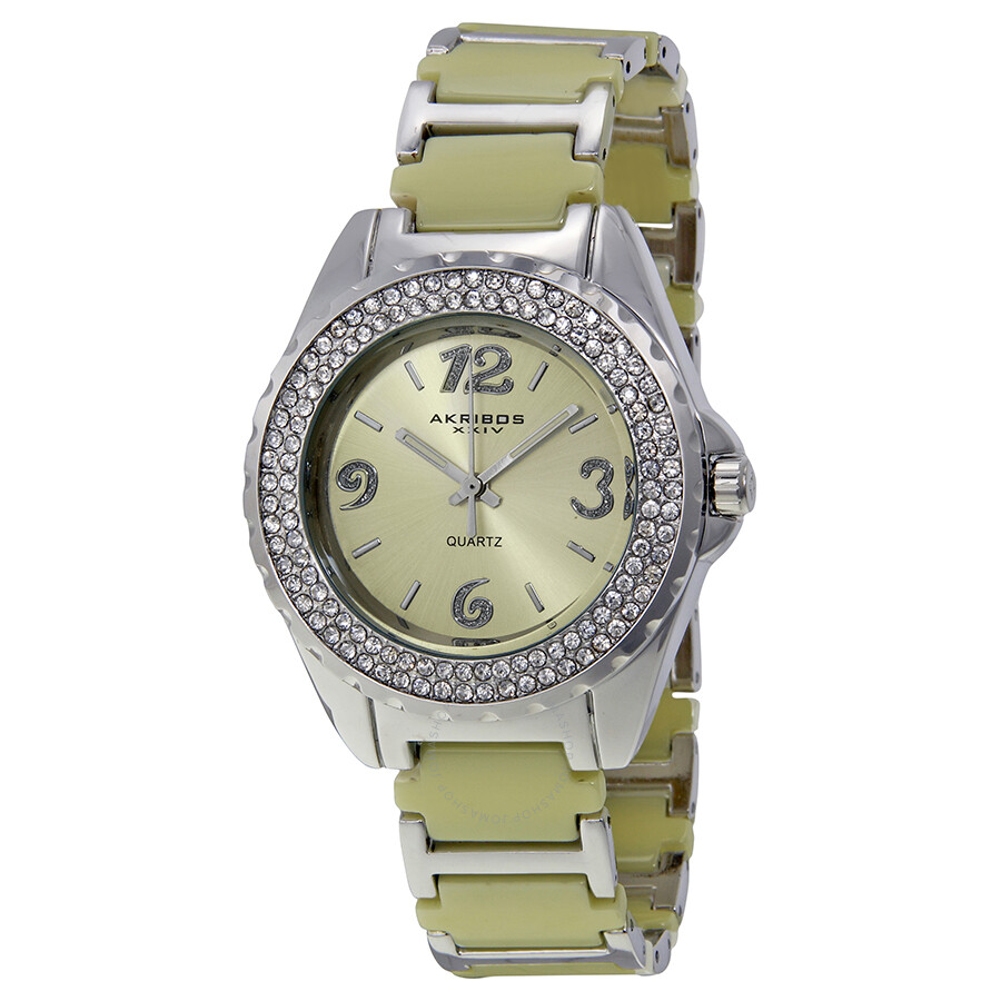Akribos beige ceramic and silver tone ladies watch ak514bg akribos xxiv watches jomashop for Akribos watches