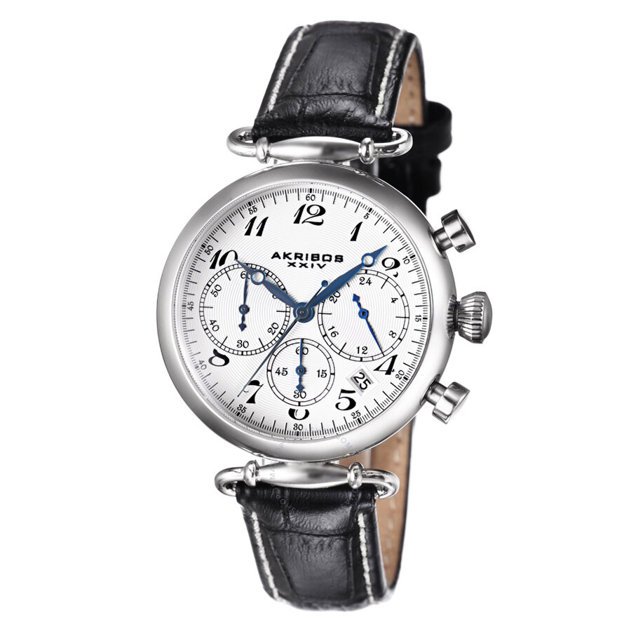 akribos chronograph white black leather