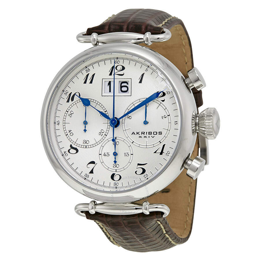 Akribos chronograph white dial brown leather men 39 s watch ak628ss akribos xxiv watches jomashop for Akribos watches