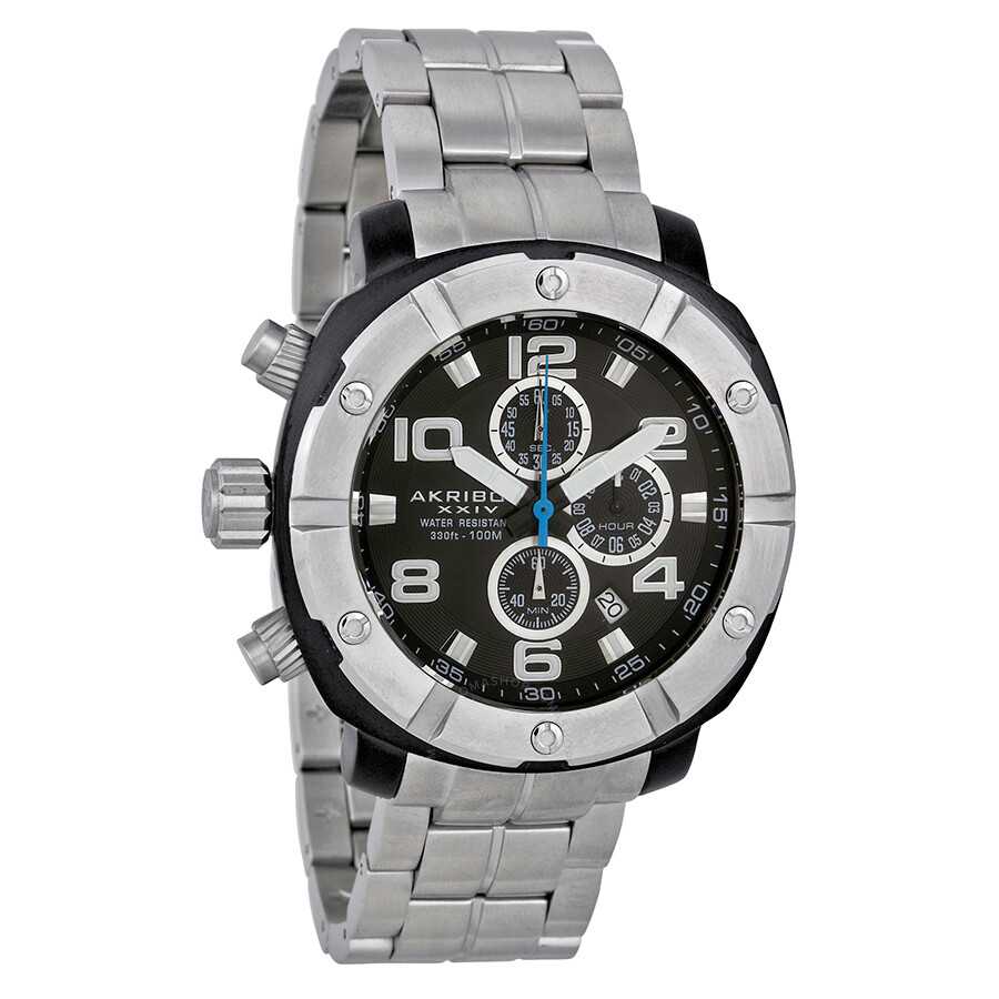 Akribos conqueror chronograph stainless steel men 39 s watch ak576ss akribos xxiv watches for Akribos watches