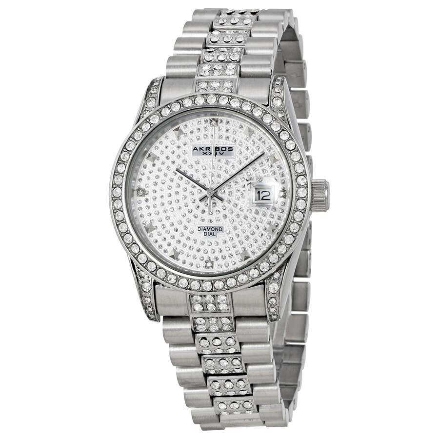 Akribos diamond stainless steel men 39 s watch ak486ss akribos xxiv watches jomashop for Akribos watches