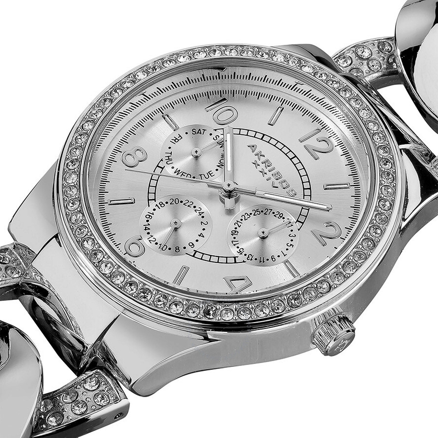 Akribos gmt multi function silver tone ladies watch ak558ss akribos xxiv watches jomashop for Akribos watches