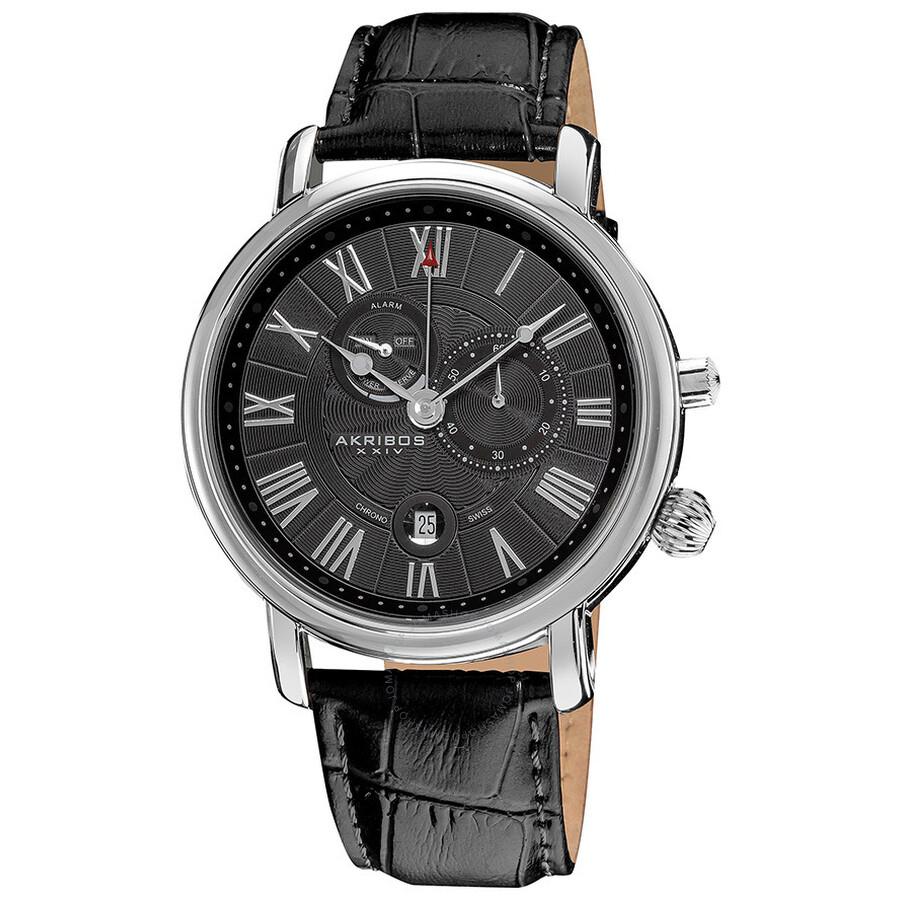 c478641684d Akribos Multi-Function Black Dial Stainless Steel Men s Watch AK593BK ...