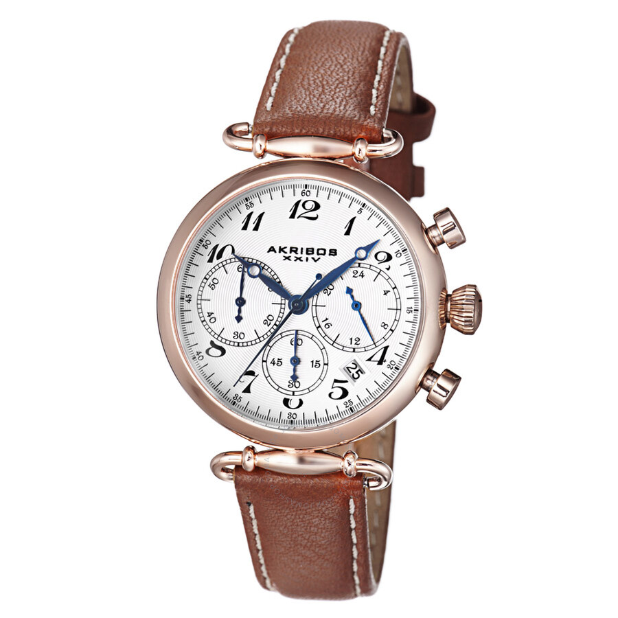 Akribos white dial chronograph gold tone steel brown leather ladies watch ak630tn akribos xxiv for Akribos watches