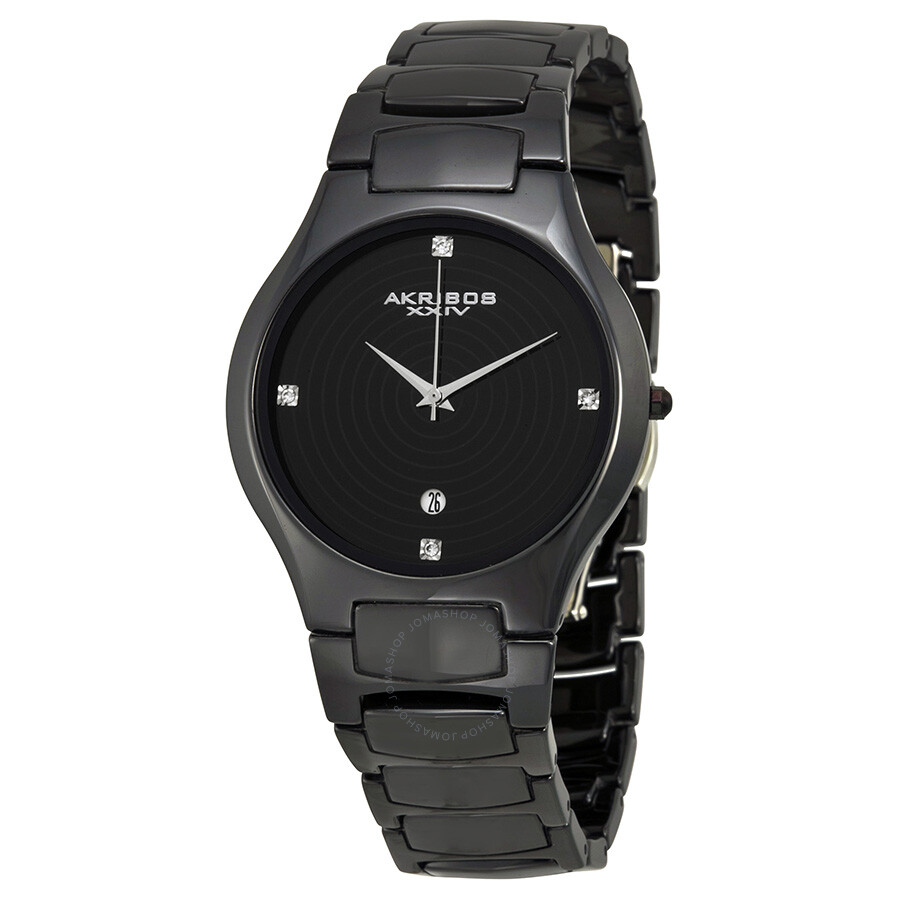Akribos xxiv black ceramic ladies watch ak516bk akribos xxiv watches jomashop for Akribos watches