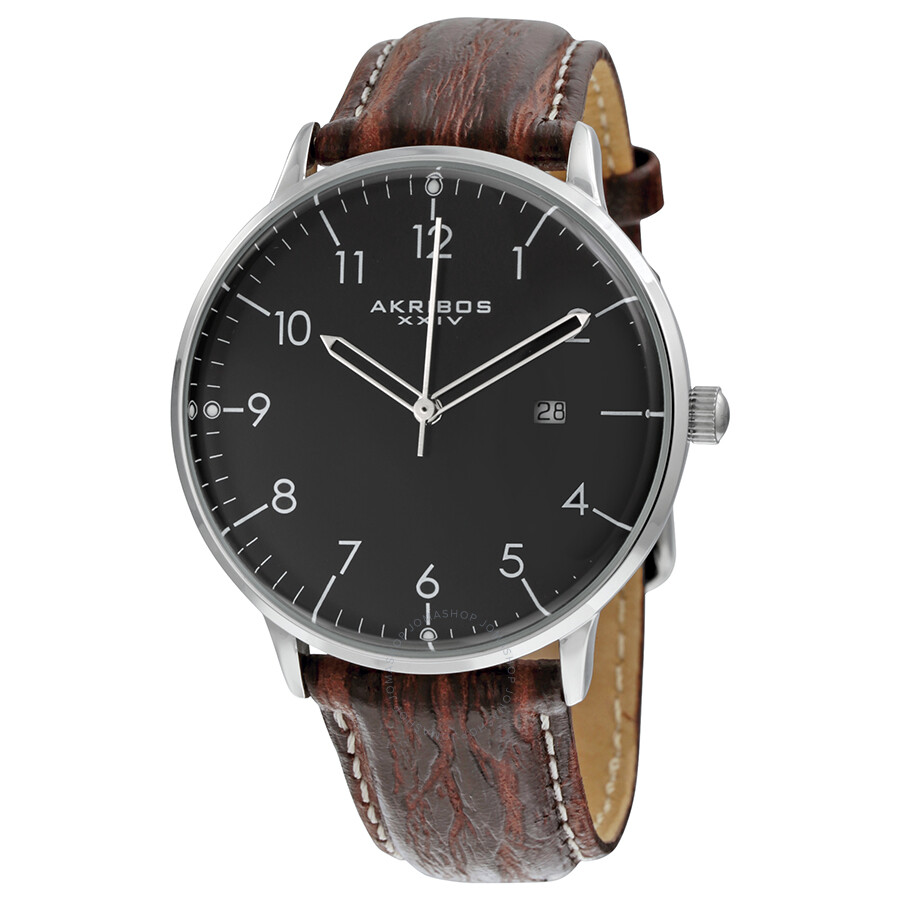 Akribos xxiv black dial brown leather men 39 s watch ak715ssb akribos xxiv watches jomashop for Akribos watches