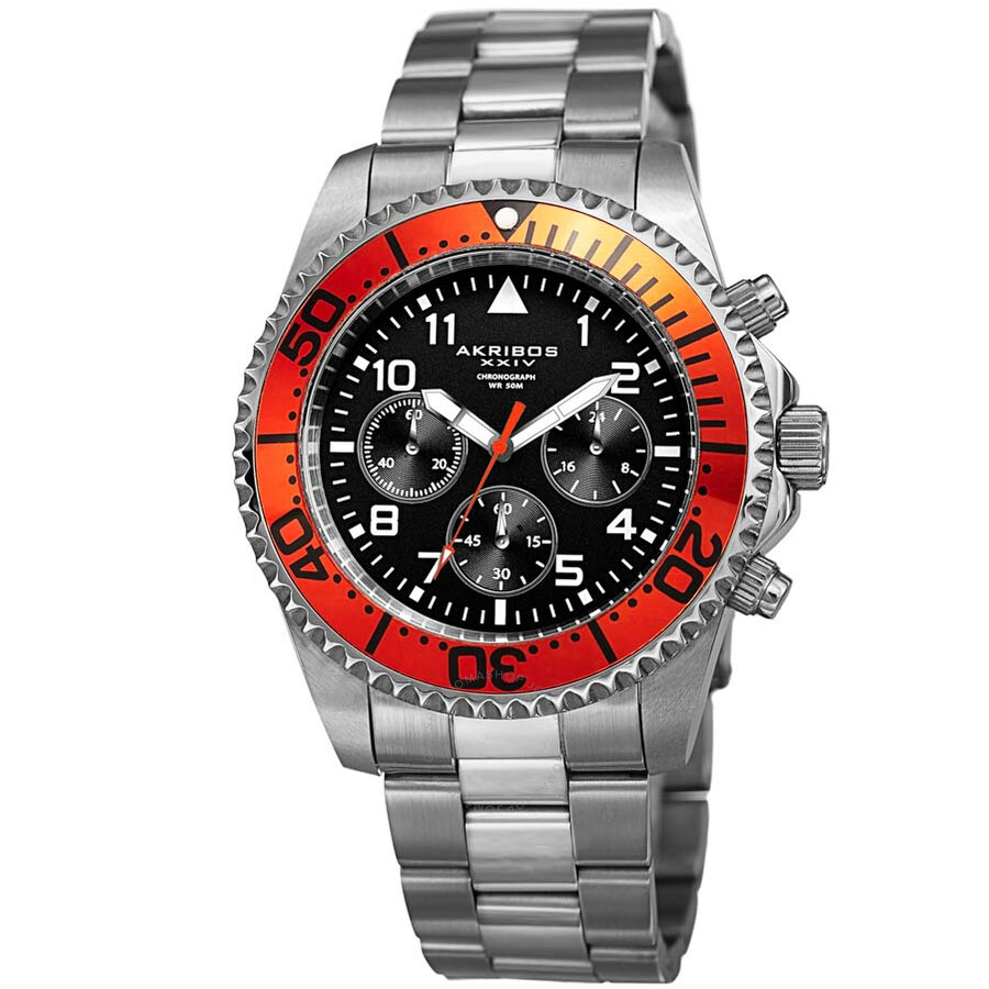 Akribos xxiv black dial chronograph men 39 s watch ak950ssor akribos xxiv watches jomashop for Akribos watches