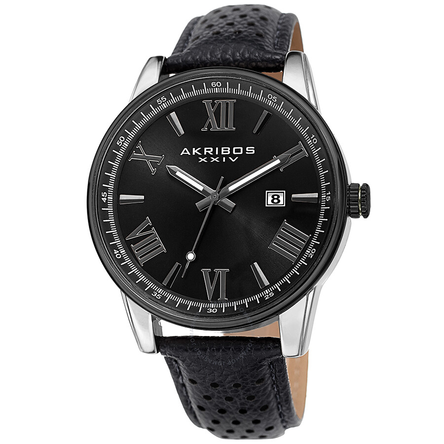 Perforated Strap Black Dial Men's Watch by Akribos Xxiv