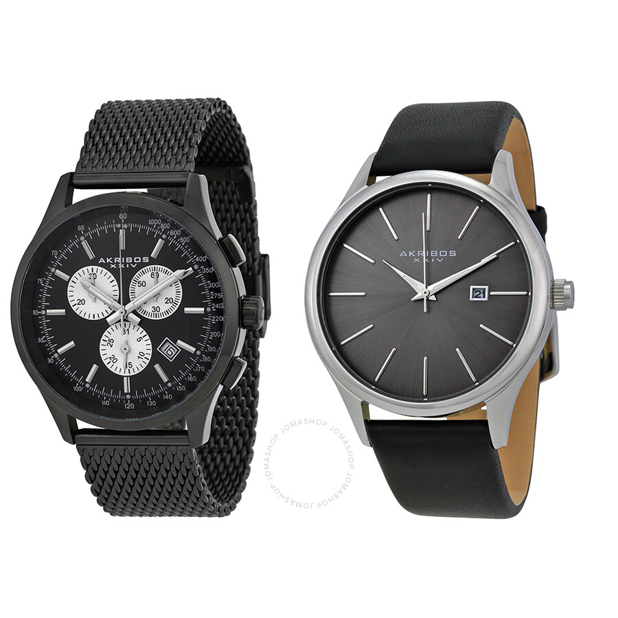 Akribos xxiv black dial men 39 s two watch set ak737 1 akribos xxiv watches jomashop for Akribos watches