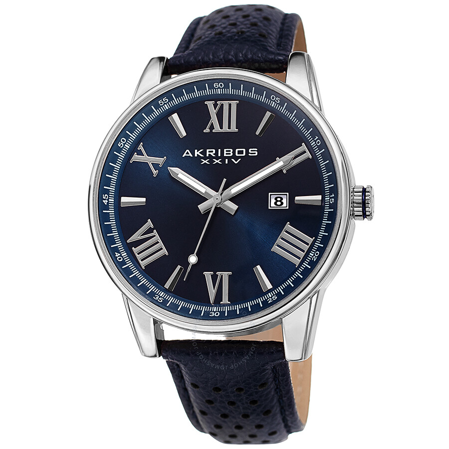 Perforated Strap Blue Dial Men's Watch by Akribos Xxiv