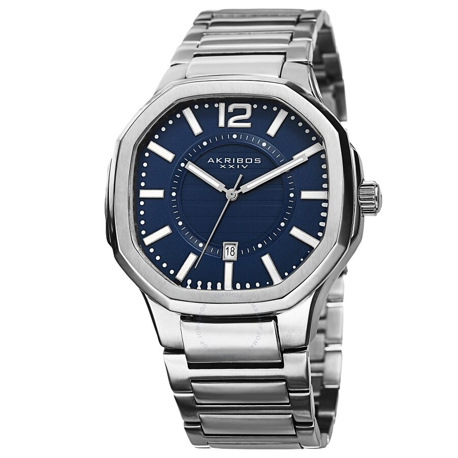 Akribos xxiv blue dial stainless steel men 39 s watch ak712bu akribos xxiv watches jomashop for Akribos watches