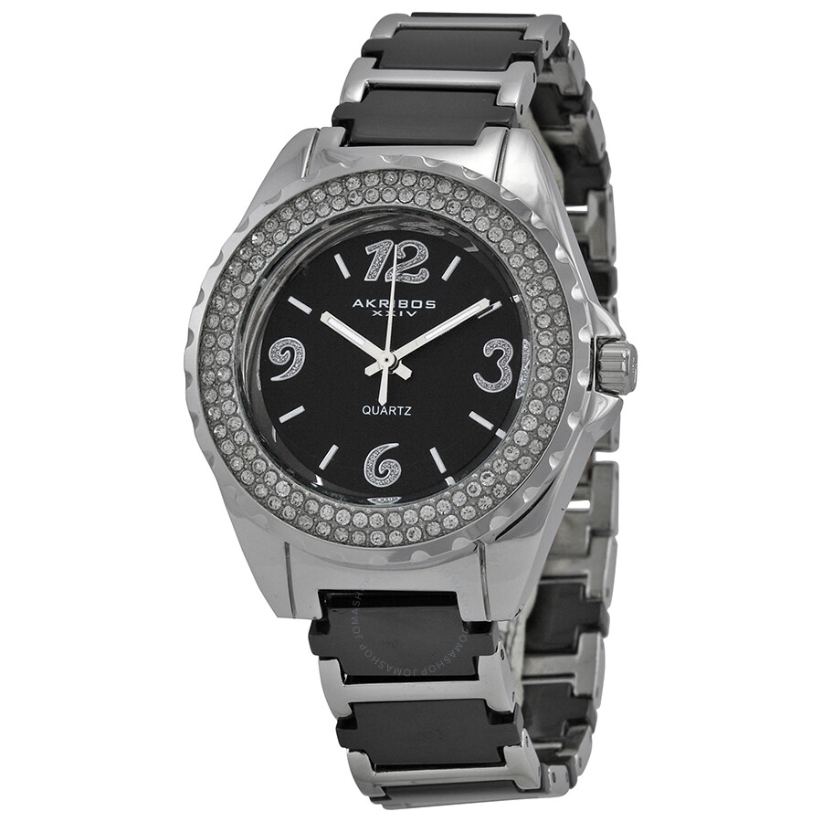 Akribos xxiv ceramic ladies watch ak514bk akribos xxiv watches jomashop for Akribos watches