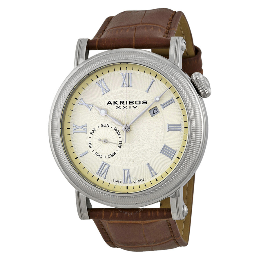 Akribos xxiv cream men 39 s watch ak673br akribos xxiv watches jomashop for Akribos watches