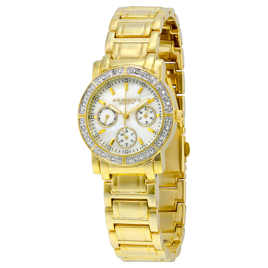 Akribos xxiv diamond ladies watch ak530yg akribos xxiv watches jomashop for Akribos watches
