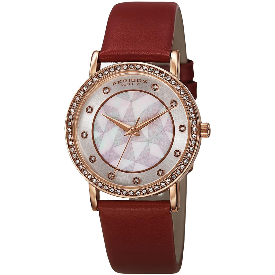 Mother of Pearl Dial Red Leather Ladies Watch AK791RD