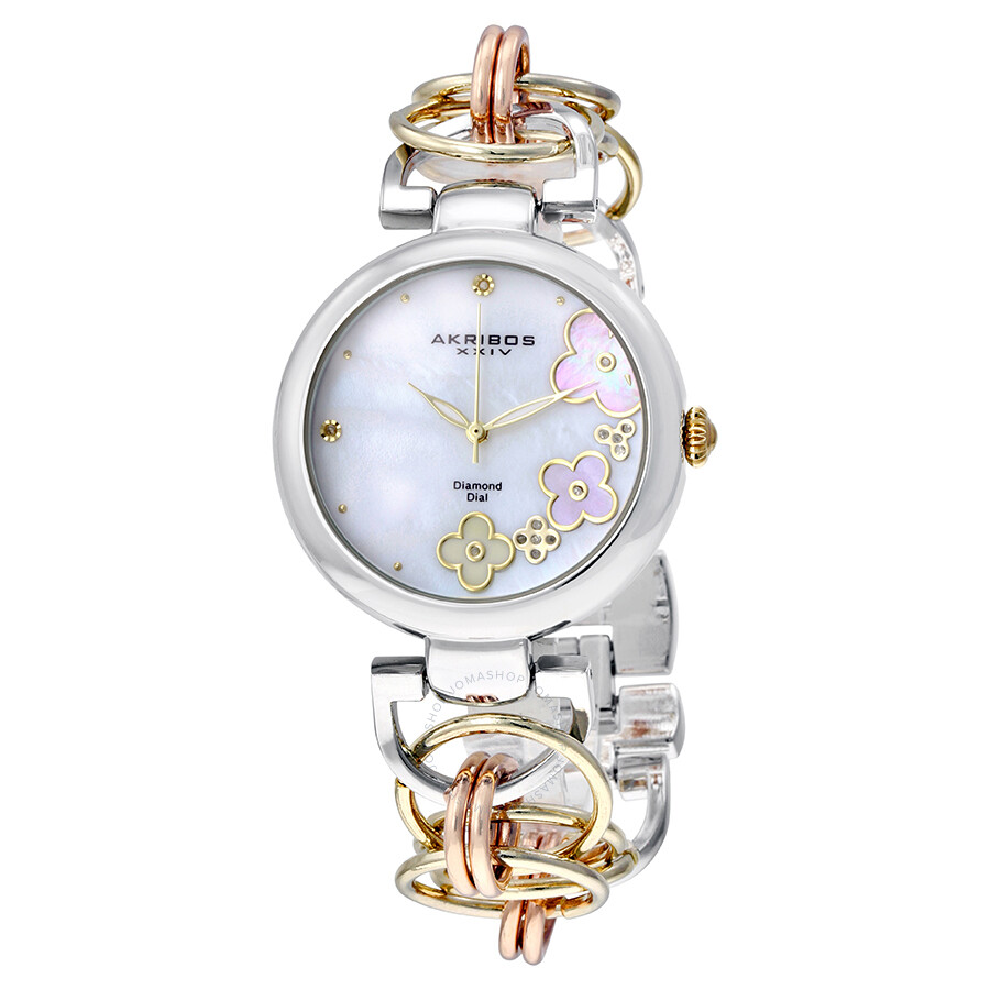 Akribos xxiv mother of pearl ladies watch ak645tri akribos xxiv watches jomashop for Pearl watches