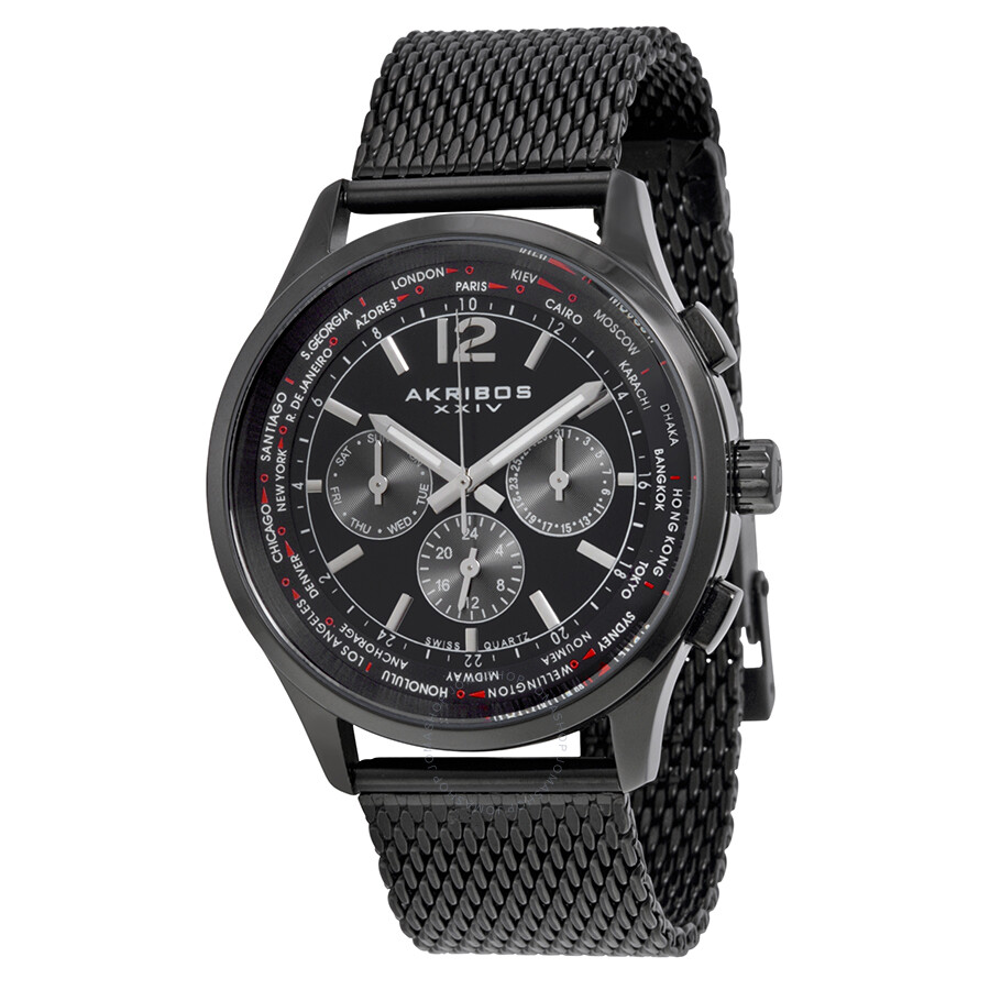 Akribos xxiv multi function black dial black ion plated mesh men 39 s watch ak716bk akribos xxiv for Akribos watches