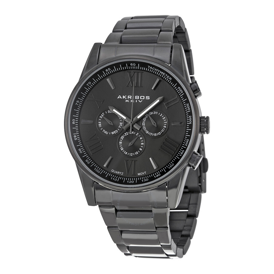 Akribos xxiv multi function black dial men 39 s watch ak736bk akribos xxiv watches jomashop for Akribos watches